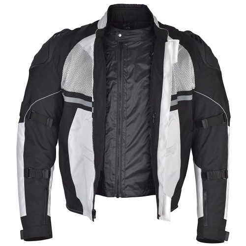 Men-Motorcycle-Textile-Multi-Season-Jacket-White-Black