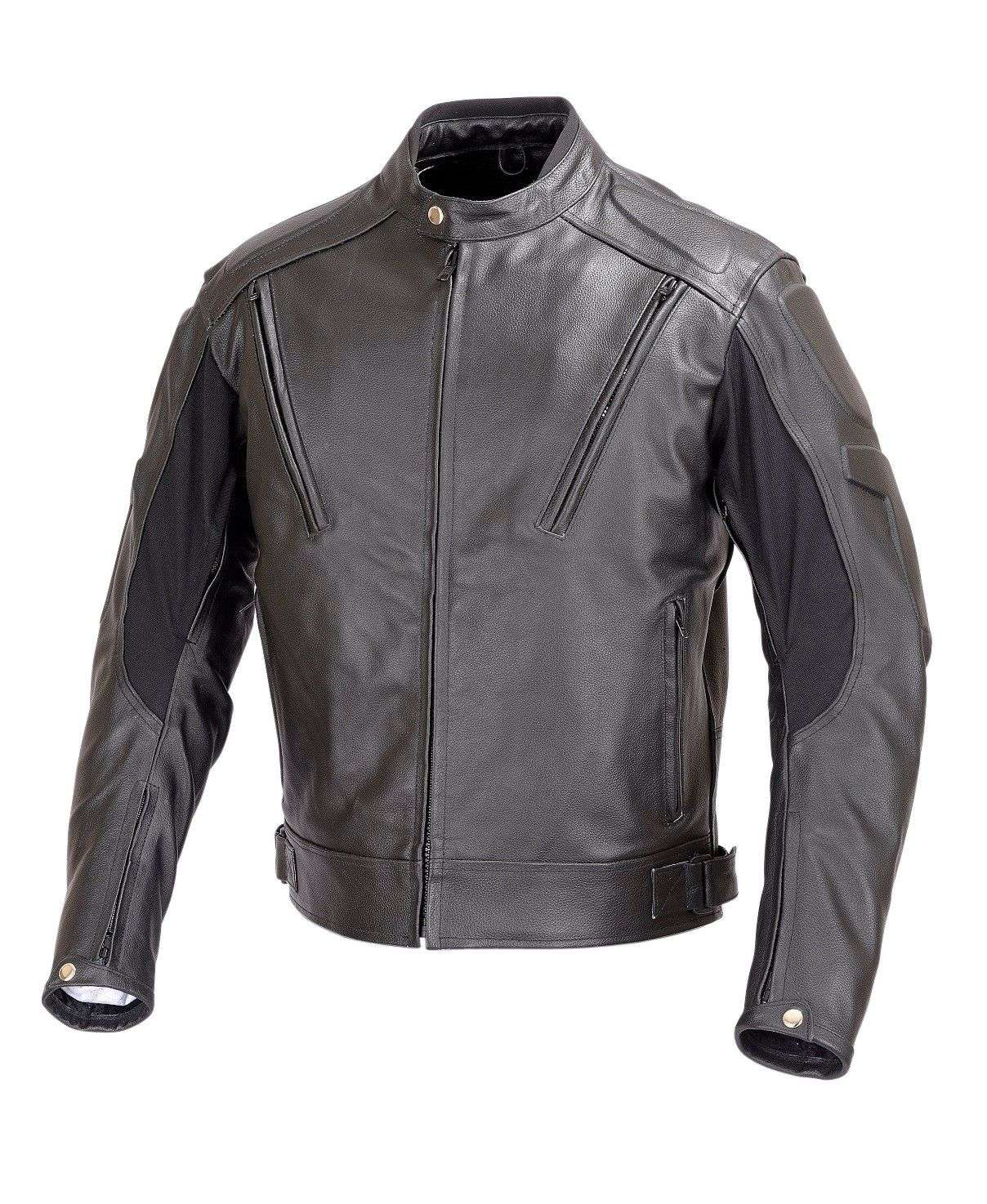 Men-Motorcycle-Vented-Leather-Jacket-Armor-Black-M