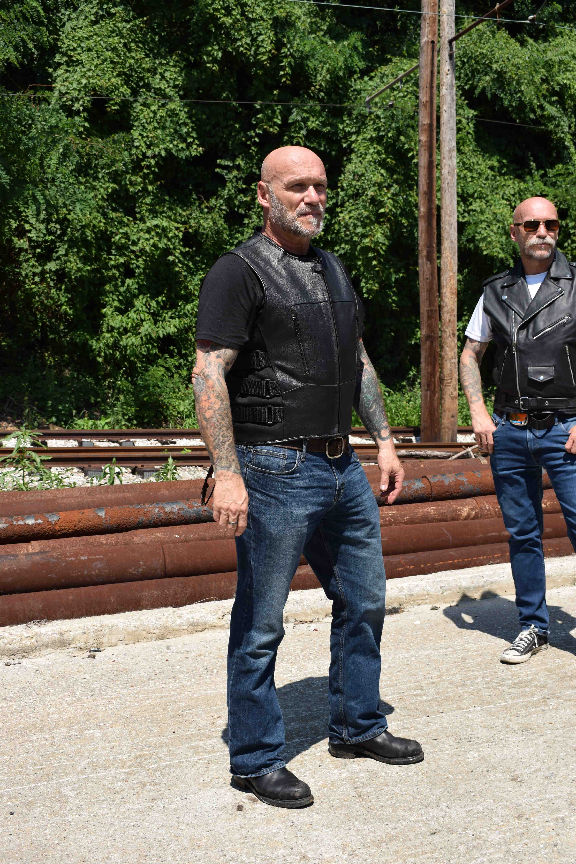 WICKED STOCK Men Cowhide Leather Motorcycle Biker Classic Western Style Vest Black