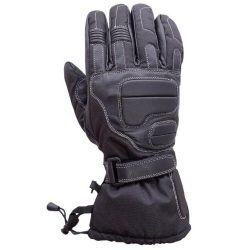 Motorcycle-Extra-Long-Gauntlet-Cowhide-Riding-Gloves-Lined-Black