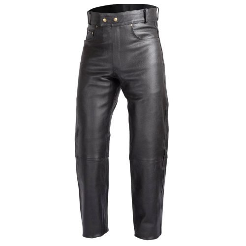 Mens-Heavy-Duty-Motorcycle-Black-Leather-Pants-Jeans-Style-Five-Pockets