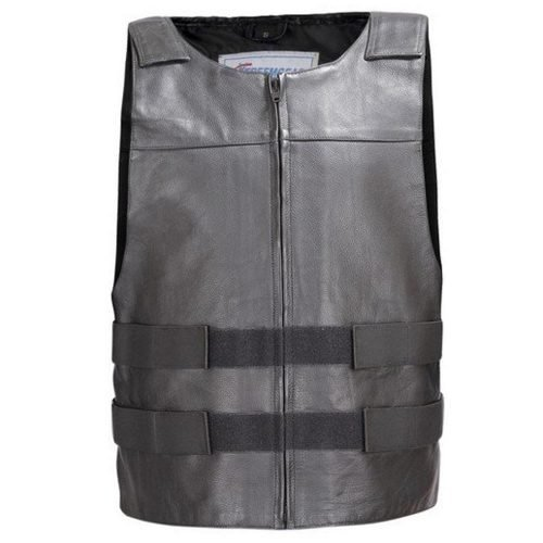 Men-Leather-Motorcycle-Biker-Tactical-Street-Vest-Bullet-Proof-Style-Black