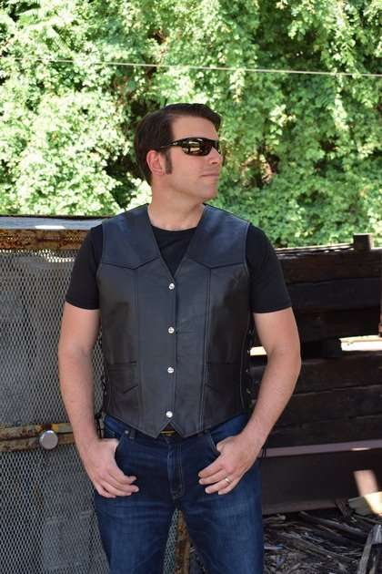 Men-Classic-Leather-Motorcycle-Biker-Vest-Embossed-Eagle-Black