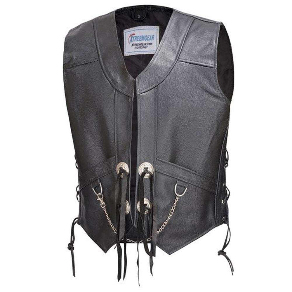 Mens-Leather-Chain-Biker-With-Laces-Vest