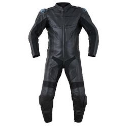 2PC-Motorcycle-Biker-Original-Drum-Dyed-Cowhide-Race-Suit-CE-Armor-Black