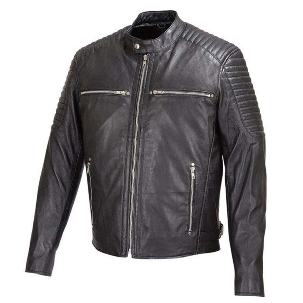 MENS-SOFT-SHEEP-LEATHER-JACKET-BLACK-w/PADDED-SHOULDERS