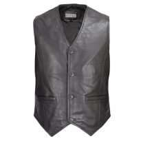 Men-Motorcycle-Biker-Leather-Button-Front-Vest-Classic-Style