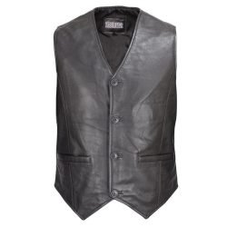 Men-Motorcycle-Biker-Leather-Button-Front-Vest-Classic-Style