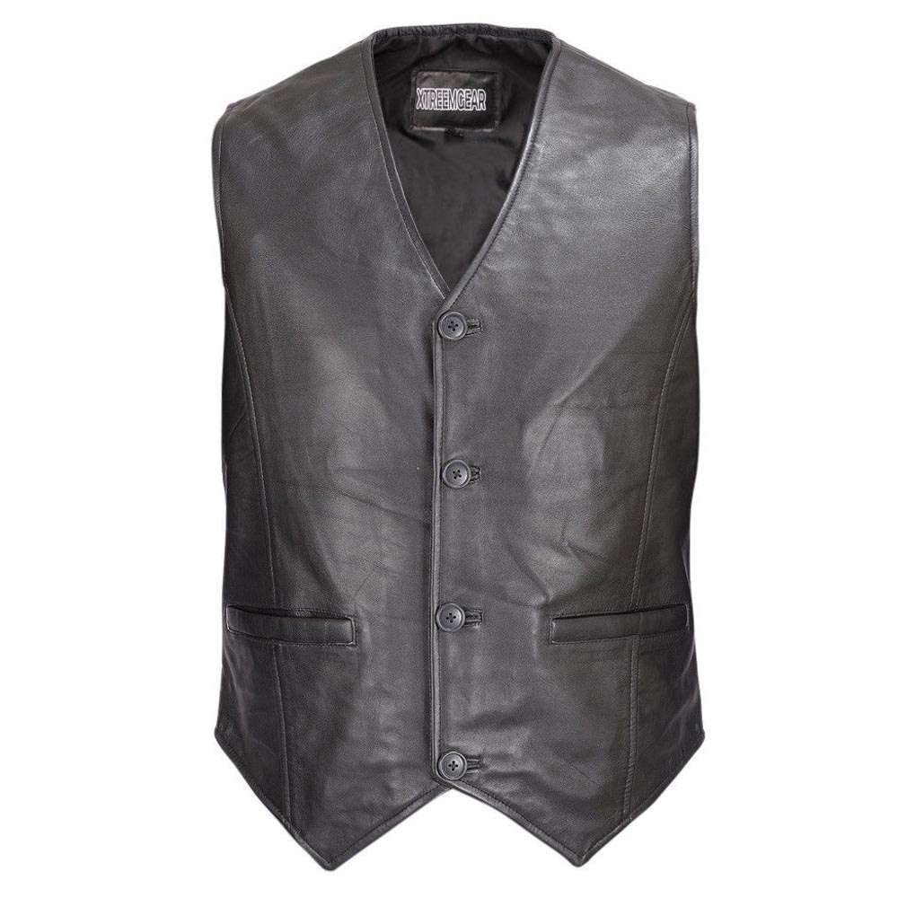 Men Motorcycle Biker Leather Button Front Vest Classic