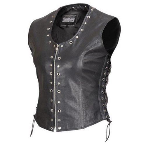 Front-Zip-Ladies-Biker-Motorcycle-Vest-with-Studs-and-O-Rings-Lace-Sides