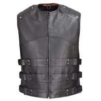 Crew-Collar-Leather-Biker-Vest