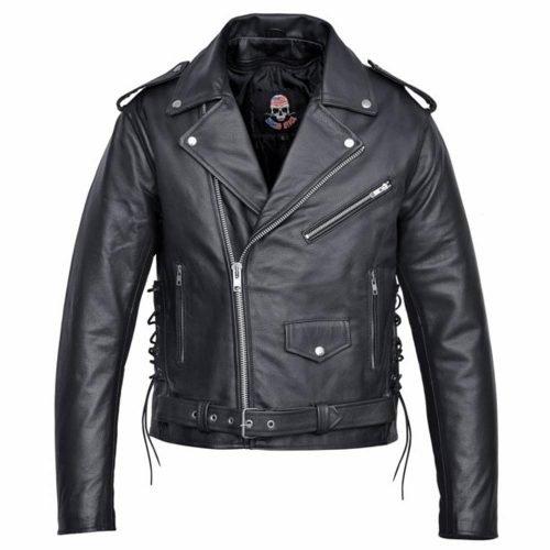 Mens-Real-Leather-Moto-Jacket-Black