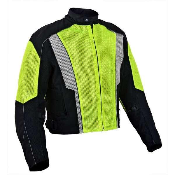 Mens-Dallas-Textile-Motorcycle-Jacket-Neon-Green-M