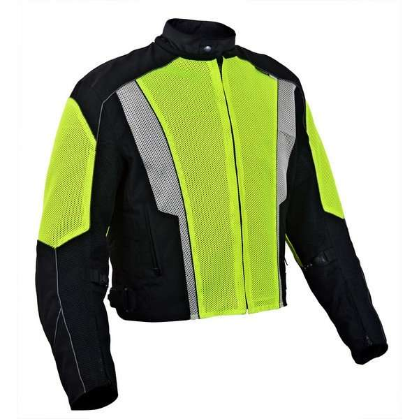 Mens-Dallas-Textile-Motorcycle-Jacket-Neon-Green-L