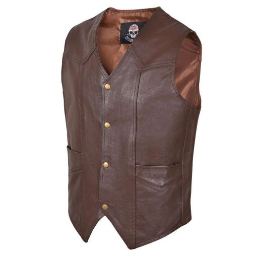 Men-Motorcycle-Leather-Vest-Classic-Western-Style