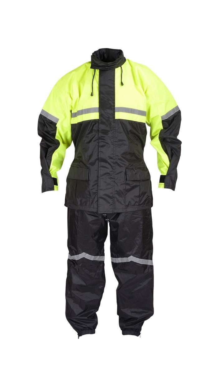 Motorcycle-Biker-Two-Piece-Rain-Suit-Yellow-Black-High-Visibility-RN2