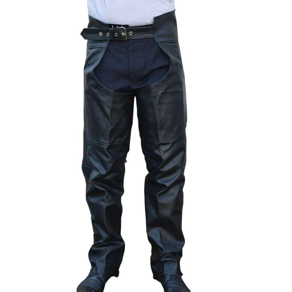 90550a7d2d1f Men Women Braided Motorcycle Biker Cowhide Leather Chaps Pants