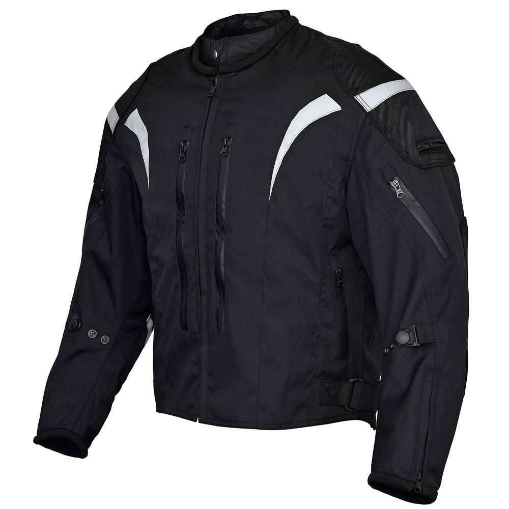 Mens-Blitz-Motorcycle-Waterproof-All-Season-Jacket-Black