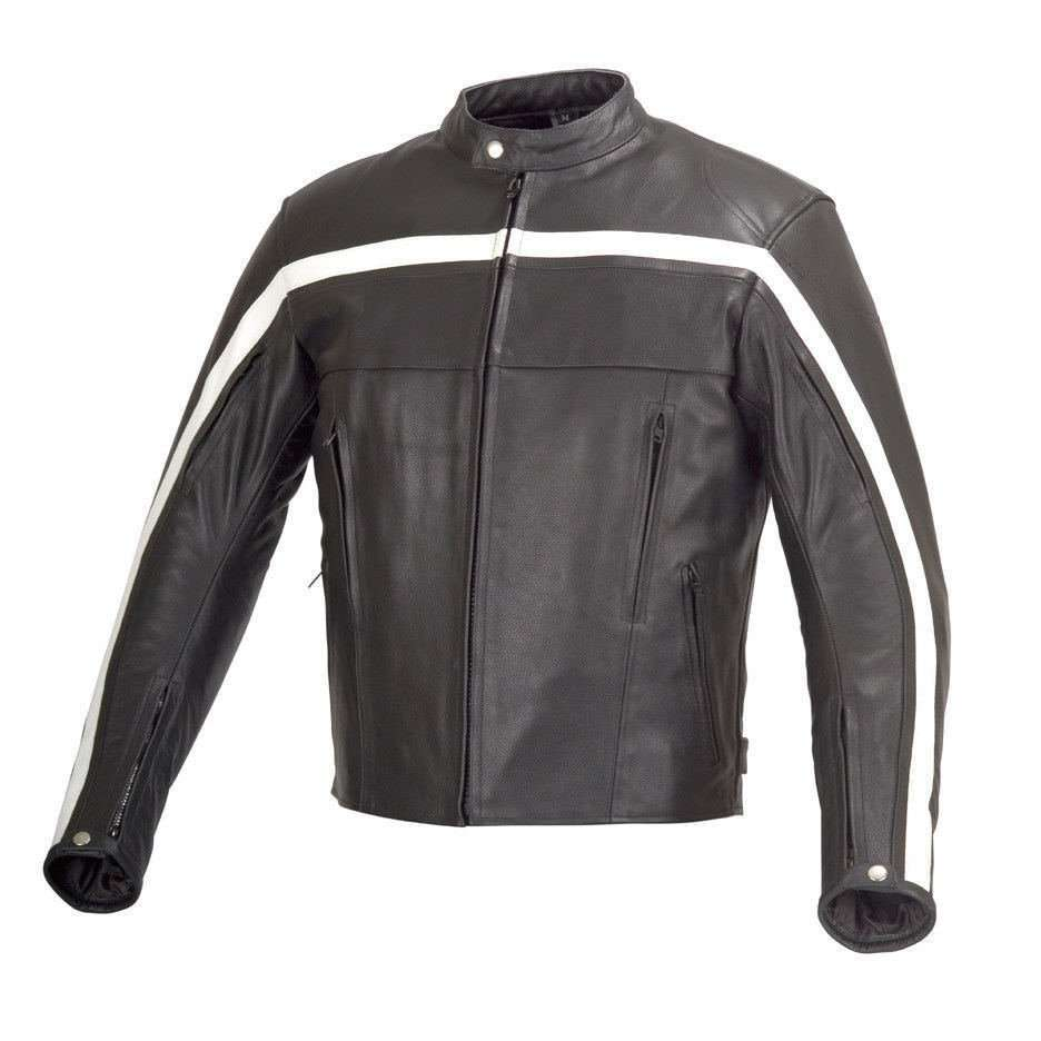 Men-Motorcycle-Bike- Old-School-Armor-Leather-Jacket-Black-Black-4XL