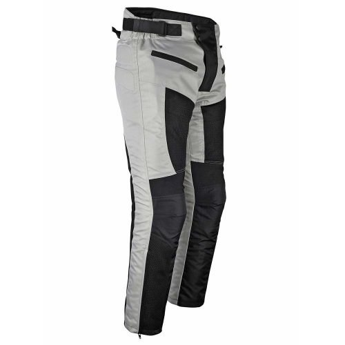 Mens-Motorcycle-Riding-Pants-Grey-Black-Mesh-with-CE-Approved-Armor