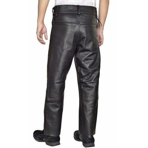 Mens-Leather-Pants-Jeans-Style-Side-Laces-Adjustable-Waist-Five-pockets