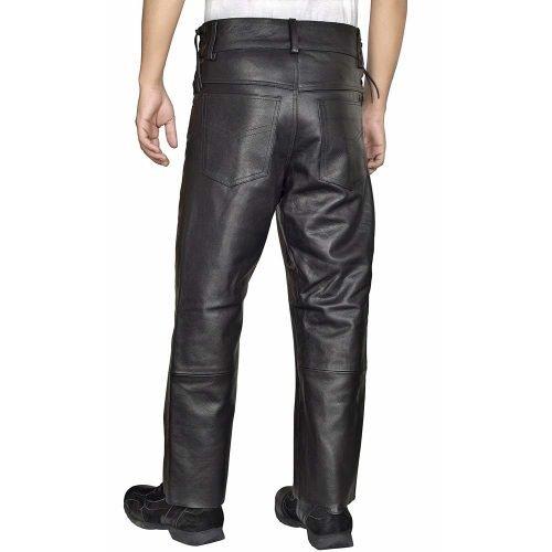 Mens-Leather-Pants-Jeans-Style-Side-Laces-Adjustable-Waist-Five-pockets