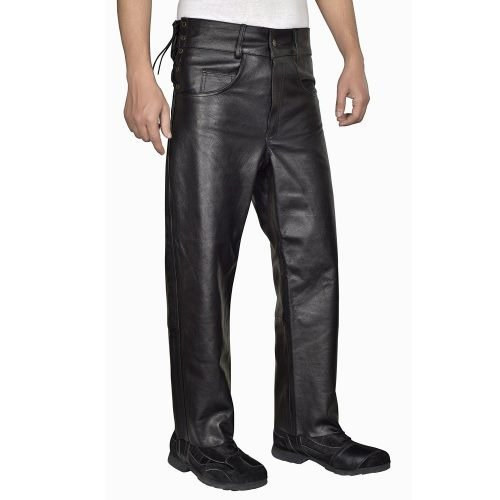Men's-Leather-Pants-Jeans-Style-Side-Laces-for-Adjustable-Waist-Five-pockets