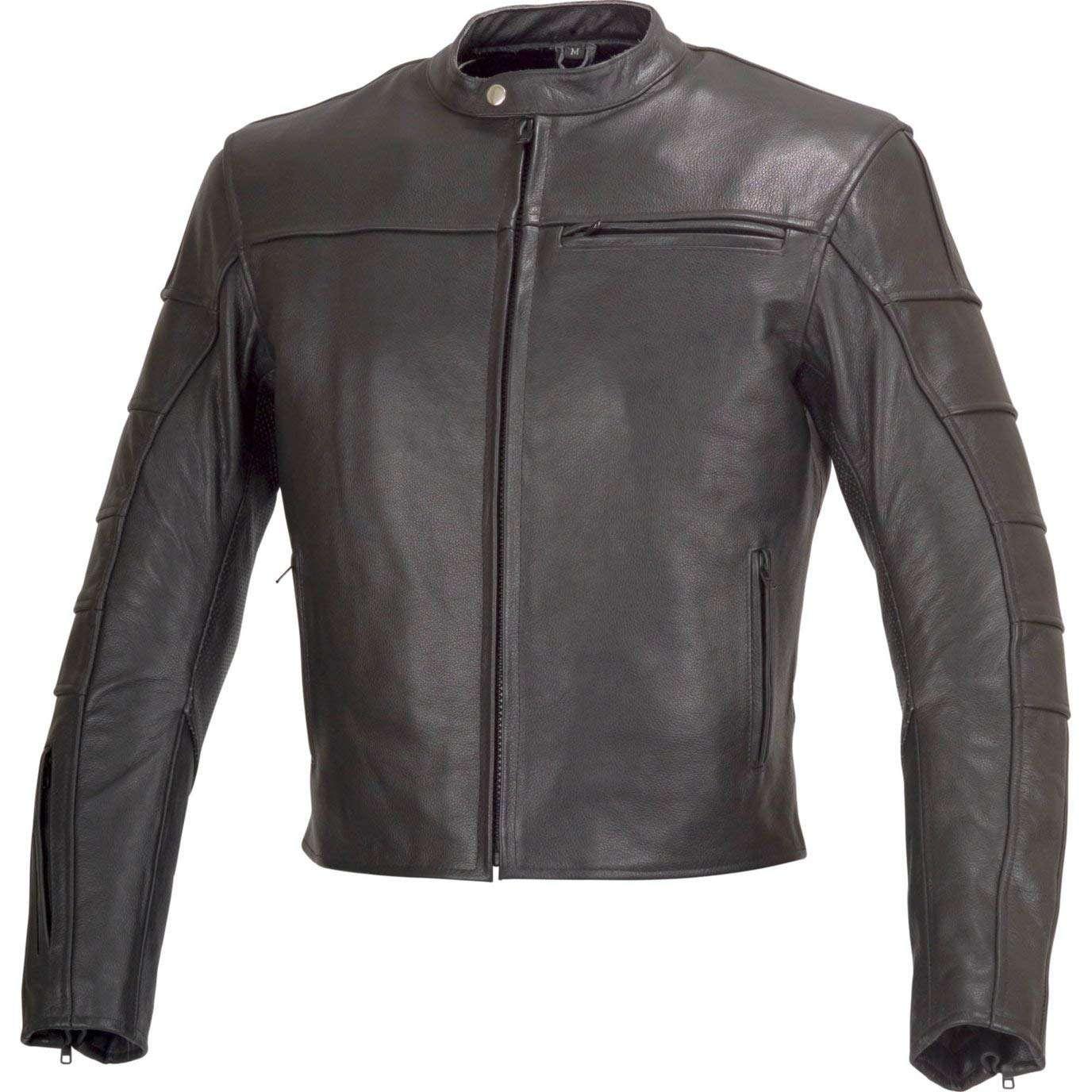 Motorcycle-Leather-Jacket-Cafe-Racer-Style-Black-4XL