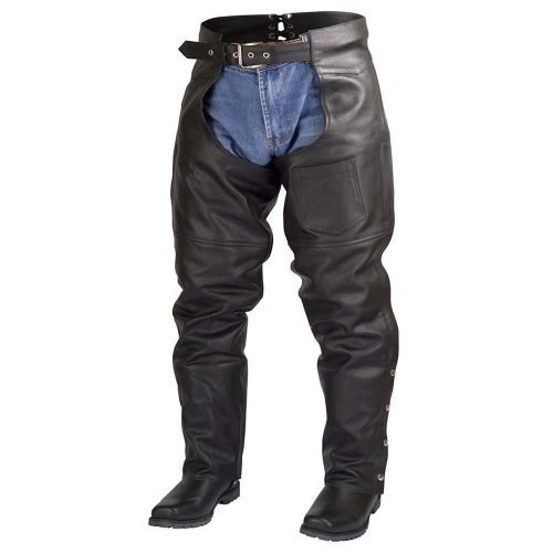 Men-Women-Plain-Motorcycle-Biker-Cowhide-Leather-Chaps-Pants-Black