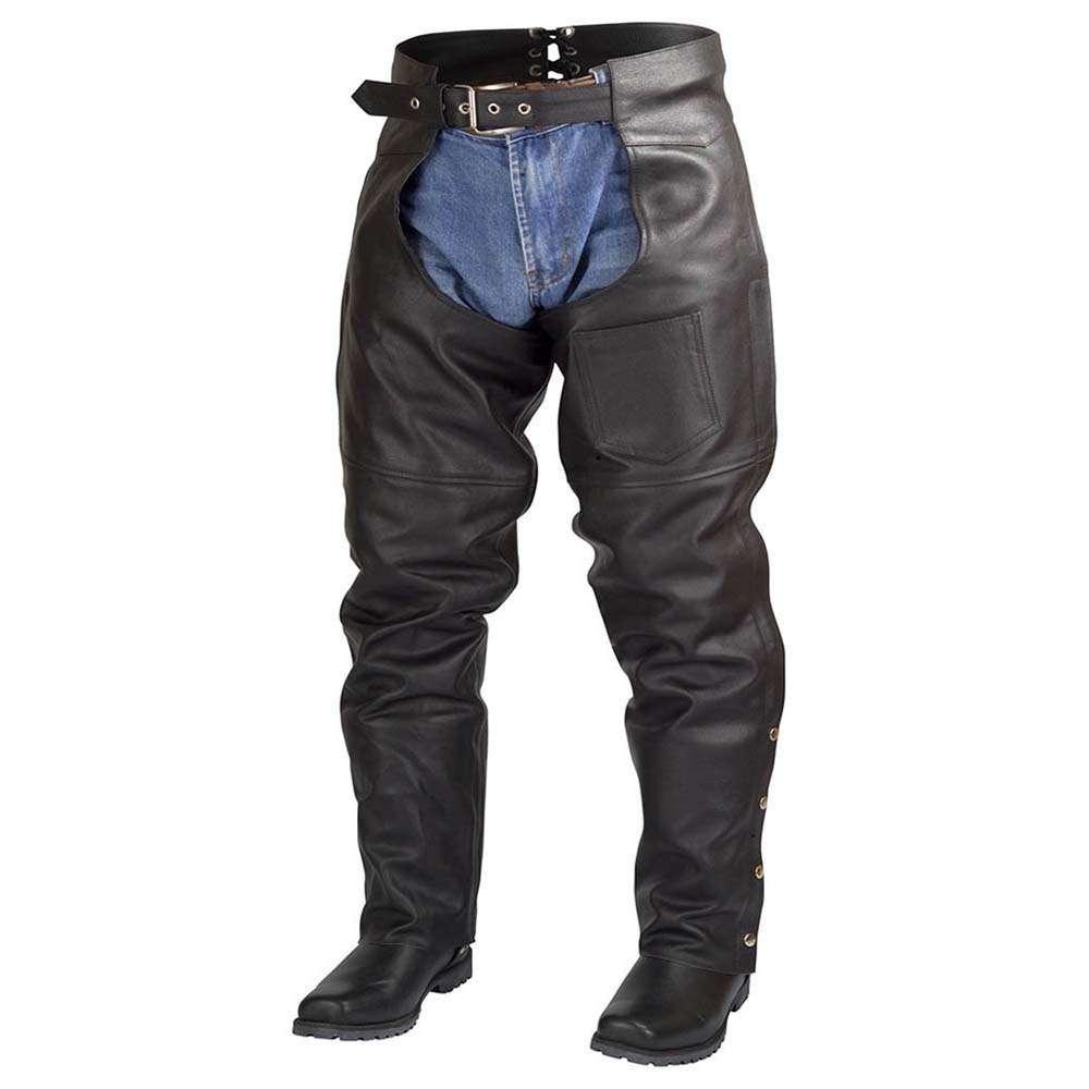 163ce8e7edd3e9 Men Women Plain Motorcycle Biker Cowhide Leather Chaps Pants Black