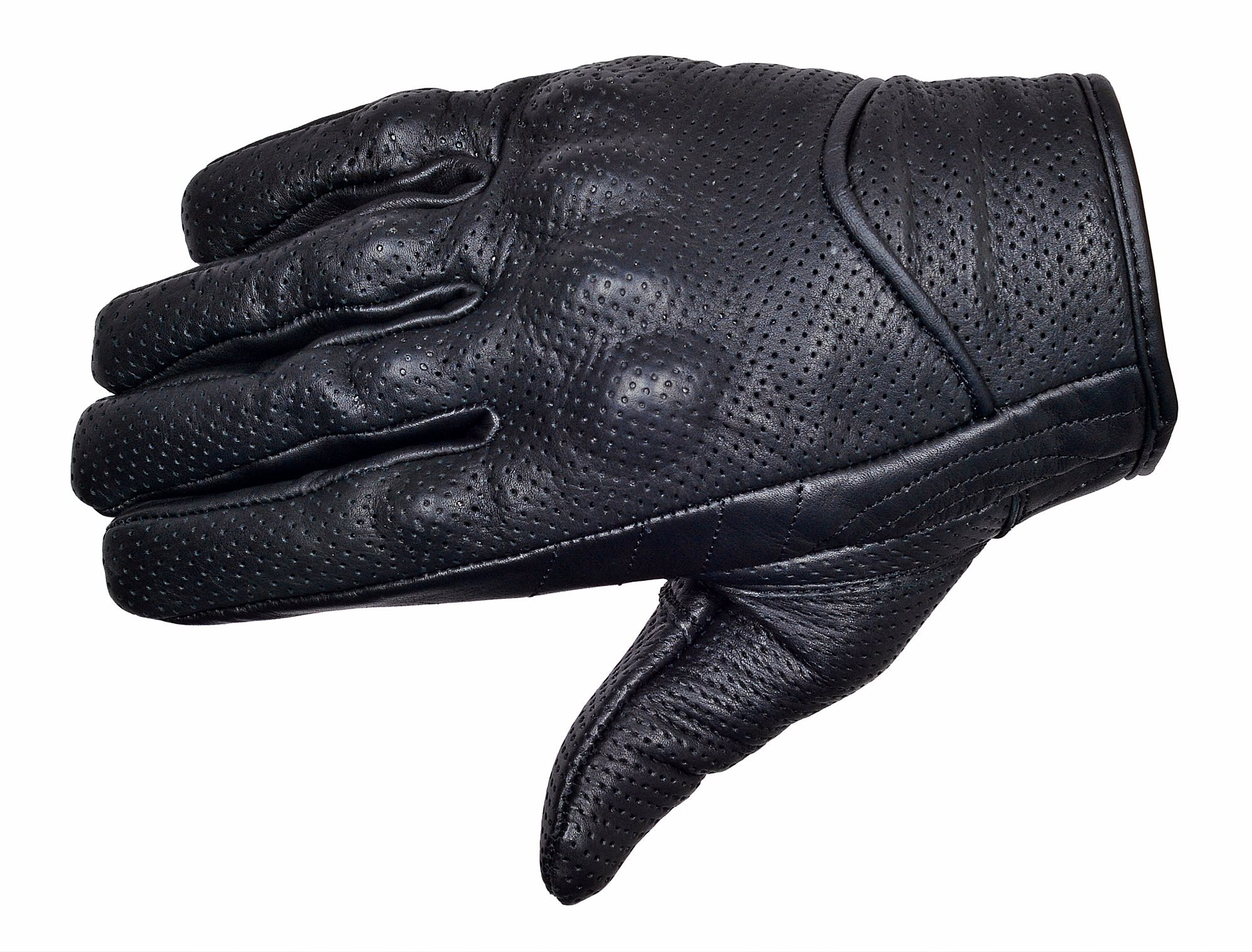 Perforated-Cowhide-Motorcycle-Biker-Riding-Gloves-Black