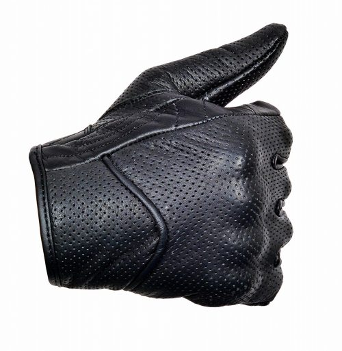 Perforated-Cowhide-Motorcycle-Biker-Riding-Gloves-Black-G14