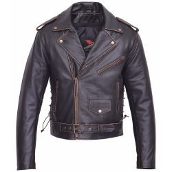 Men-Motorcycle-Leather-Jacket-American-Eagle-Live-to-Ride-Retro