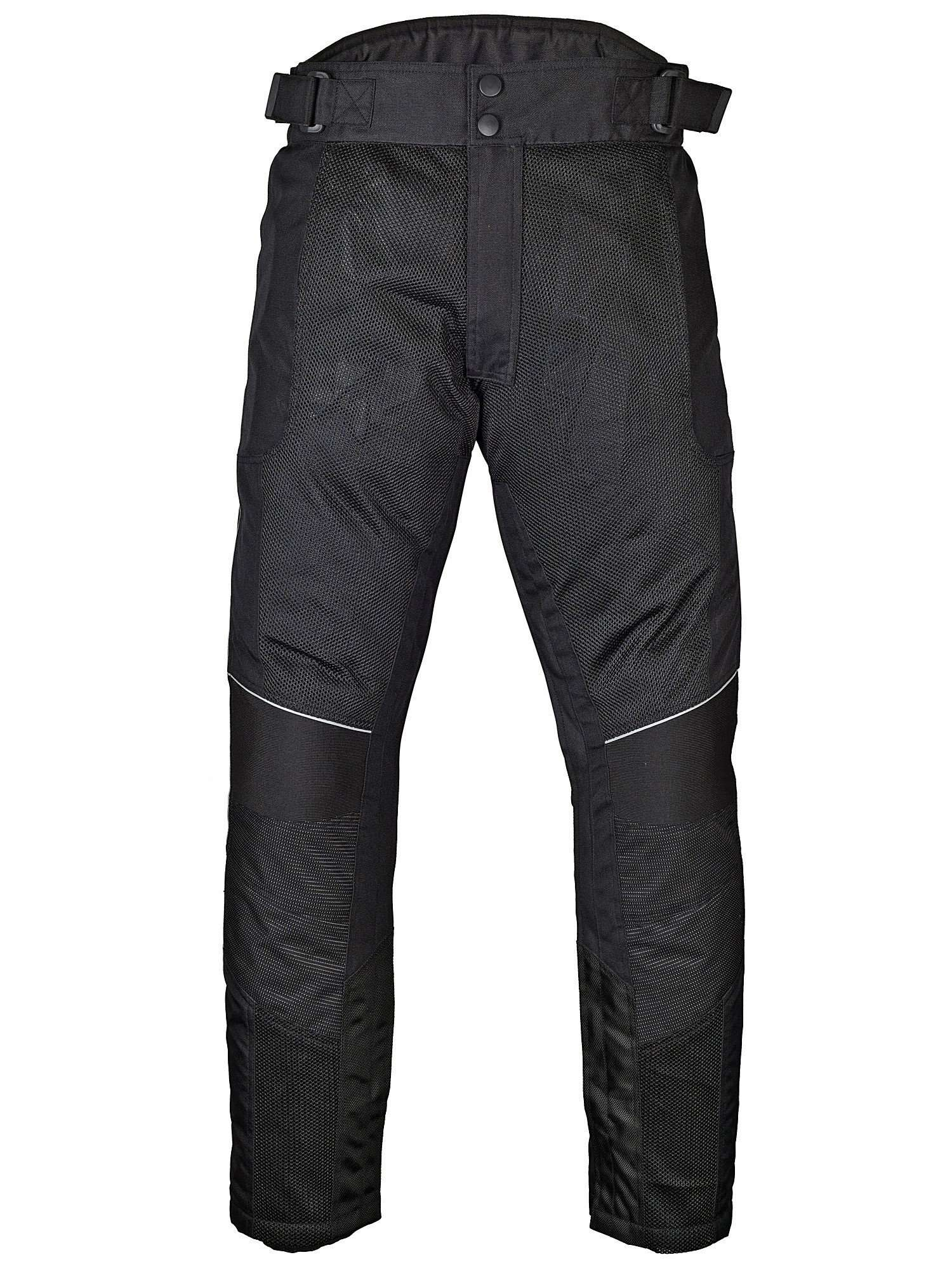 Mens-Motorcycle-Mesh-Pants-Full-Leg-Zipper-Black