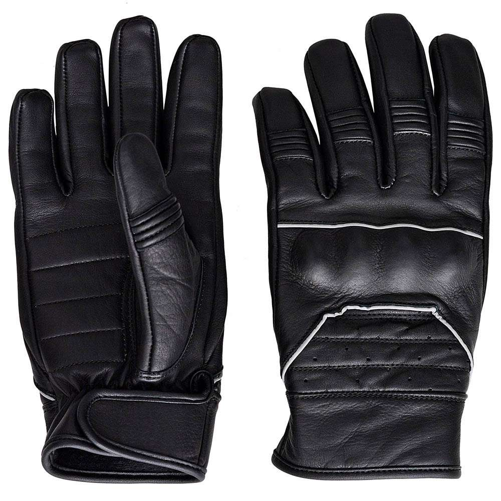 Full-Grain-Cowhide-Motorcycle-Biker-Riding-Gloves-Black-With-Reflective-Piping