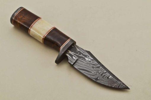 Hunting-Knife-Damascus-Guard-Wood-Camel-Bone-Handle