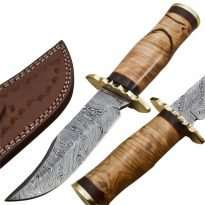 Hunting-Knife-Brass-Guard-Wood-Handle