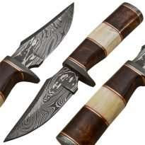 Hunting-Knife-Damascus-Guard-Wood-Camel-Bone-Handle