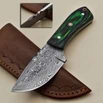 Custom-Rain-Drop-Damascus-Steel-Straight-Back-Hunting-Knife-Wood-Handle