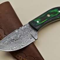 Custom-Rain-Drop-Damascus-Steel-Straight-Back-Hunting-Knife-Wood-Handle