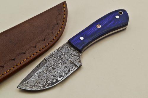 Custom-Rain-Drop-Damascus-Steel-Clip-Point-Hunting-Knife-Wood-Handle
