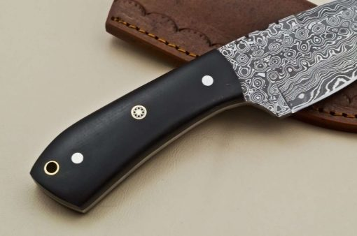 Custom-Rain-Drop-Damascus-Steel-Straight-Back-Hunting-Knife-Micarta-Handle