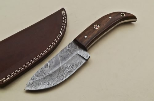 Custom-Twist-Damascus-Steel-Drop-Point-Hunting-Knife-Wood-Handle