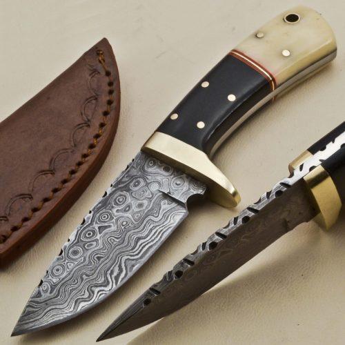 Knife-Brass-Bolster-Camel-Bone-Micarta-Handle