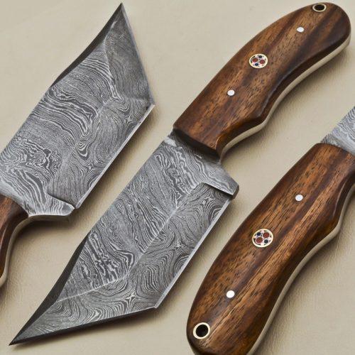 Custom-Twist-Damascus-Steel-Tanto-Hunting-Knife-Wood-Handle