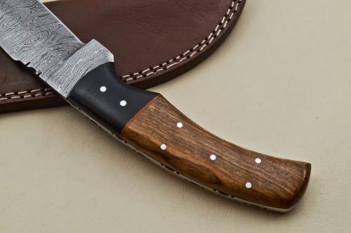 Custom-Twist-Damascus-Steel-Gut-Hook-Drop-Point-Hunting-Knife-Wood-Micarta-Handle