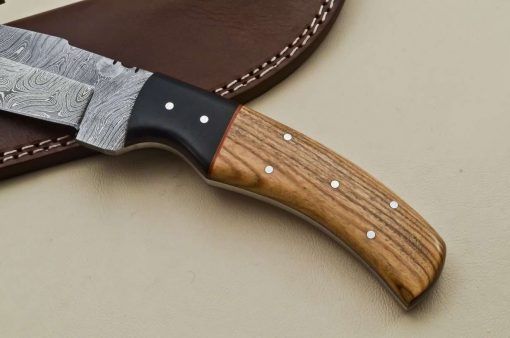 Custom-Twist-Damascus-Steel-Gut-Hook-Drop-Point-Hunting-Knife-Wood-Micarta-Handle