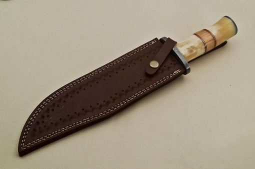 Custom-Twist-Damascus-Steel-Clip-Point-Bowie-Hunting-Knife-With-Damascus-Guard-&-Camel-Bone-Handle