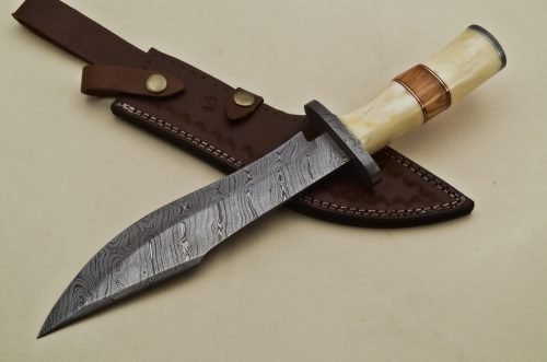 Custom-Twist-Damascus-Steel-Clip-Point-Bowie-Hunting-Knife-With-Damascus-Guard-Camel-Bone-Handle