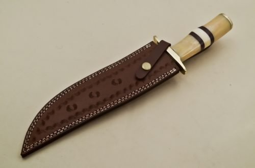 Custom-Damascus-Steel-ClipPoint-Bowie-Hunting-Knife-With-Brass-Guard-Camel-Bone-Handle